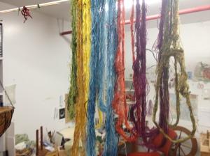 freshly dyed silk skeins